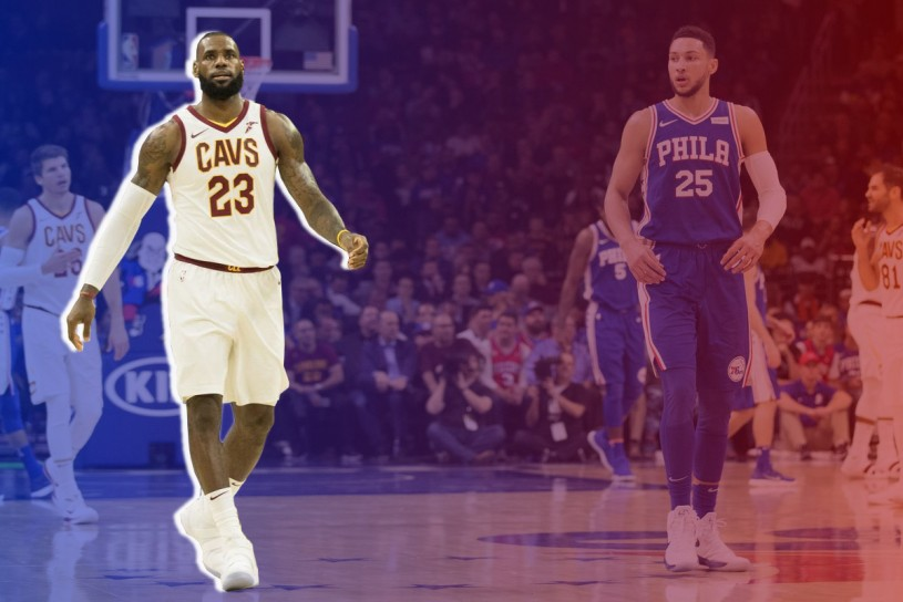 Lebron James and Ben Simmons Cavs at Sixers