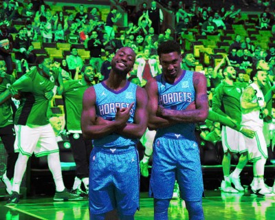 Kemba Walker and Malik Monk of the Charlotte Hornets